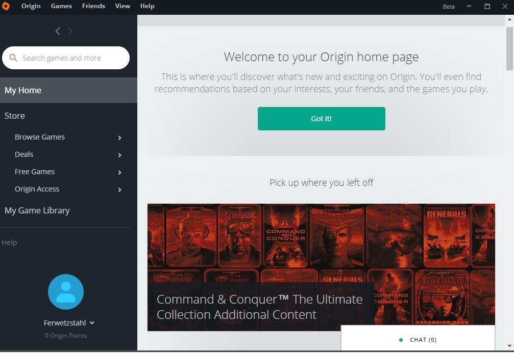 Tampilan aplikasi Origin di windows
