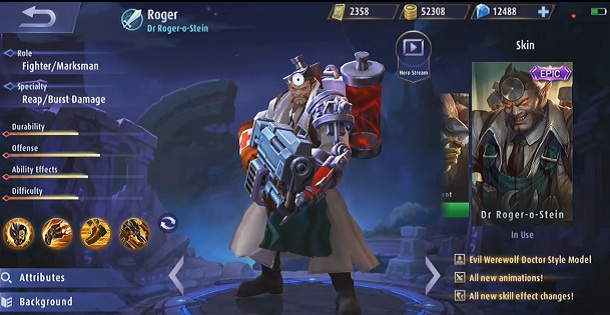 Roger new build item