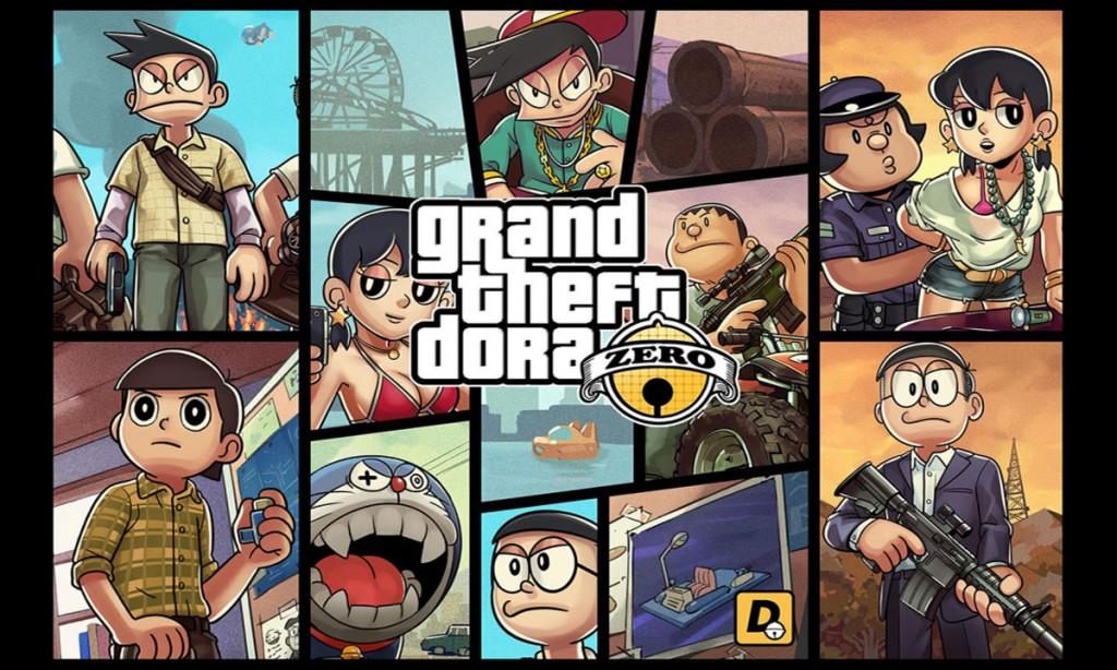 fanmade-doraemon-&-grand-theft-auto-mix-artworks
