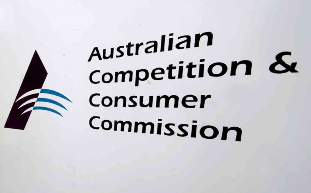 Australian Competition and Consumer Commission (ACCC) signage is seen at the watchdog's headquarters in Melbourne, Monday, May 5, 2014. (AAP Image/Julian Smith) NO ARCHIVING