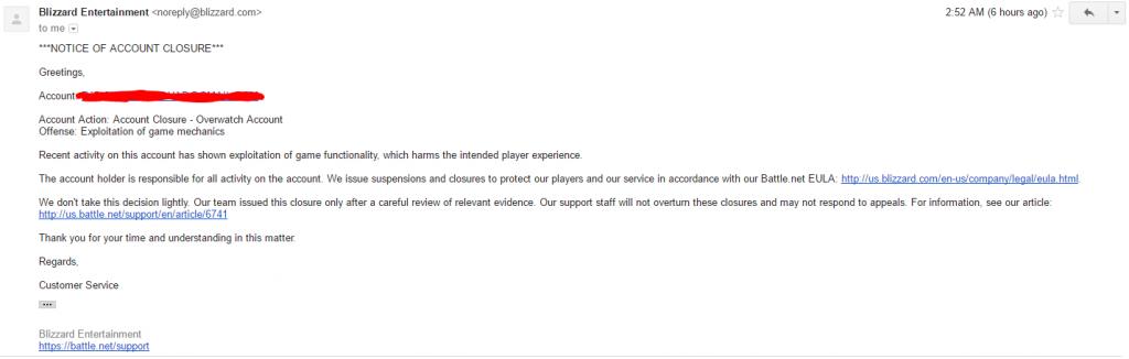 """Surat cinta berisi pemberitahuan """"Banned Permanen"""" dari Blizzard untuk Ranchoddas karena menyalahi aturan yang diberikan Blizzard"""
