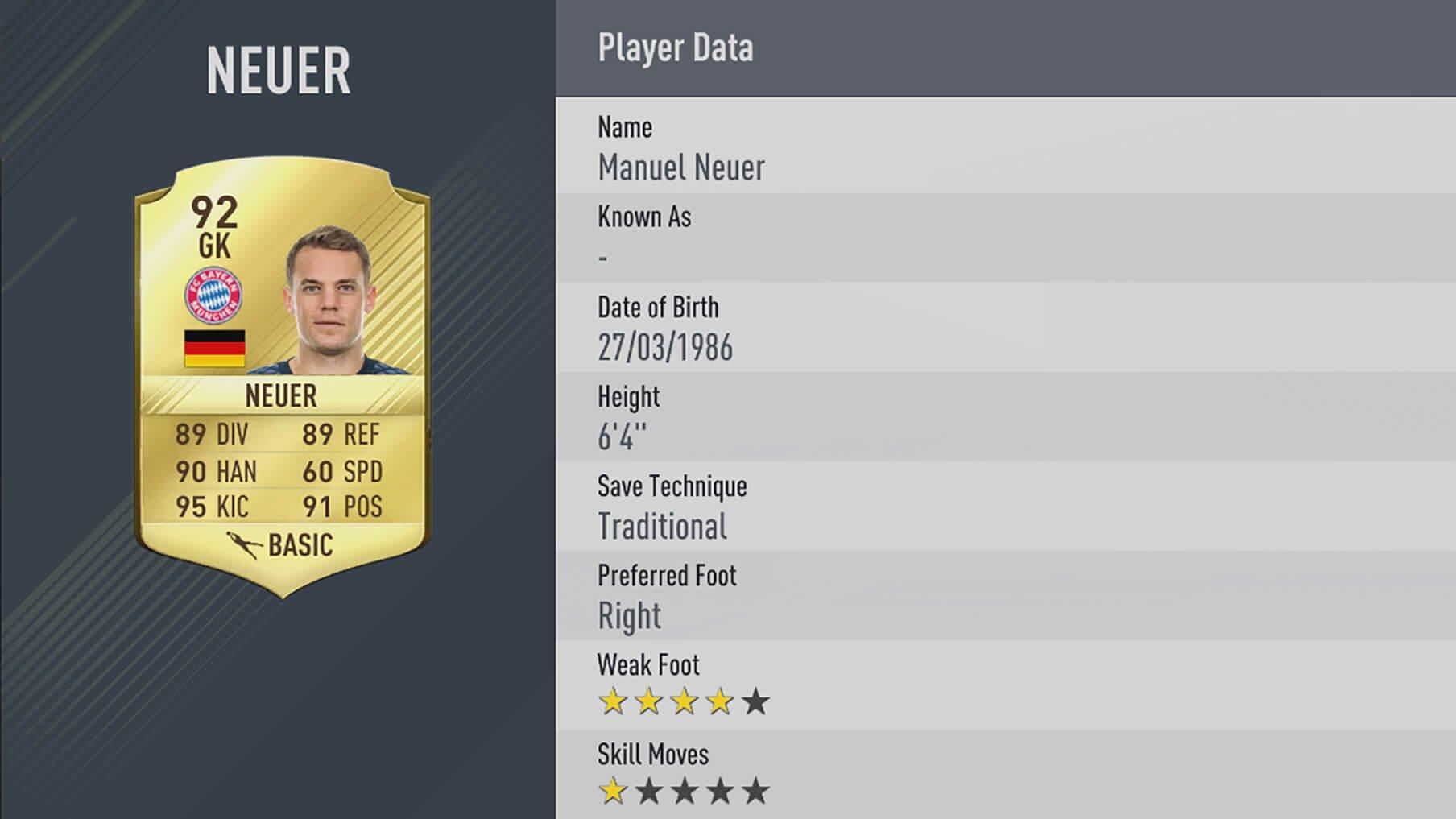 neuer rating fifa17