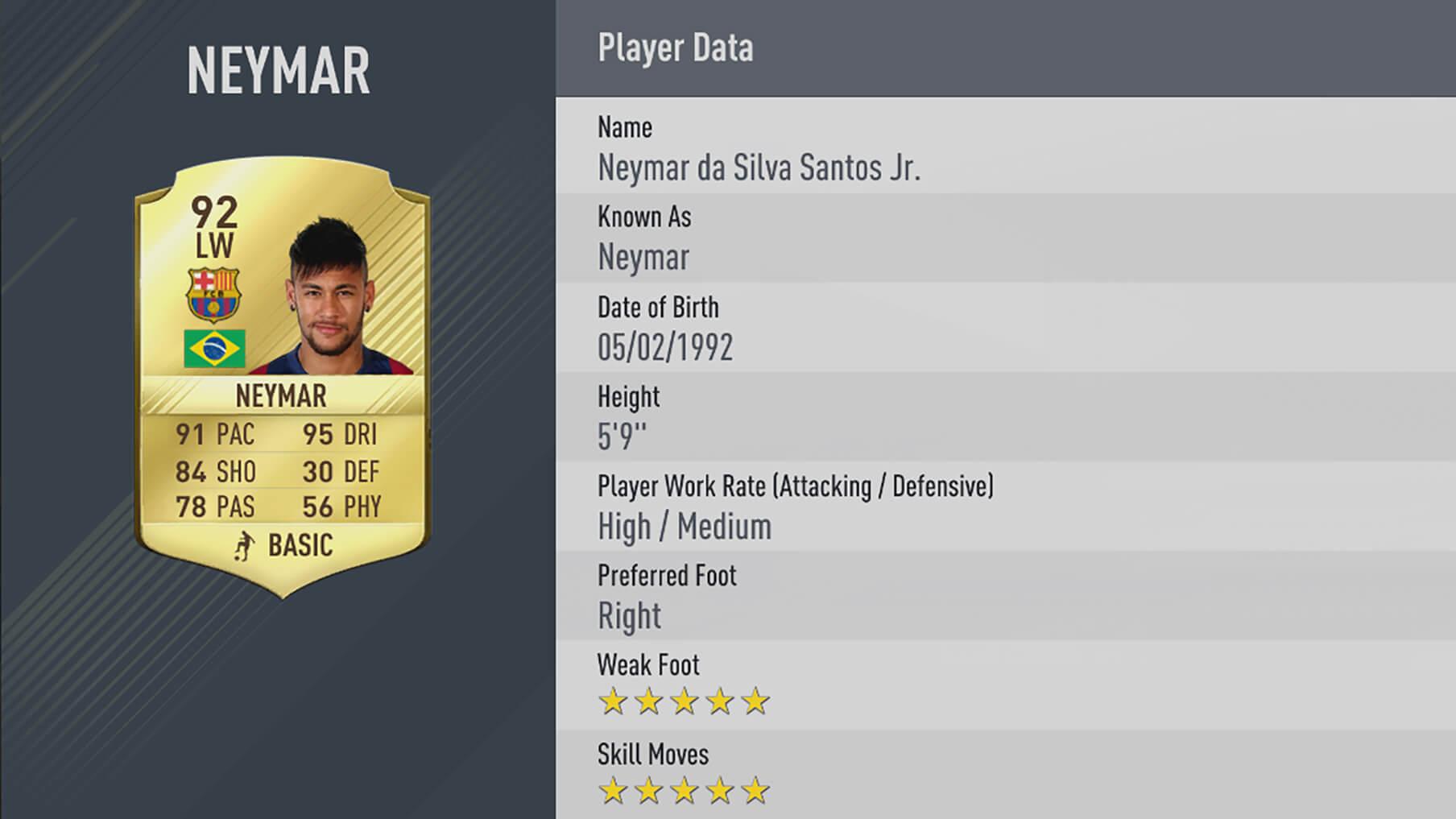 neymar rating fifa17