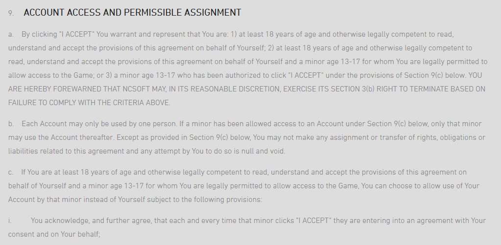 User Agreement Blade & Soul