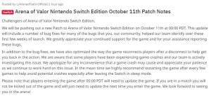 Surat Official Arena of Valor Nintendo Switch Patch Note 11