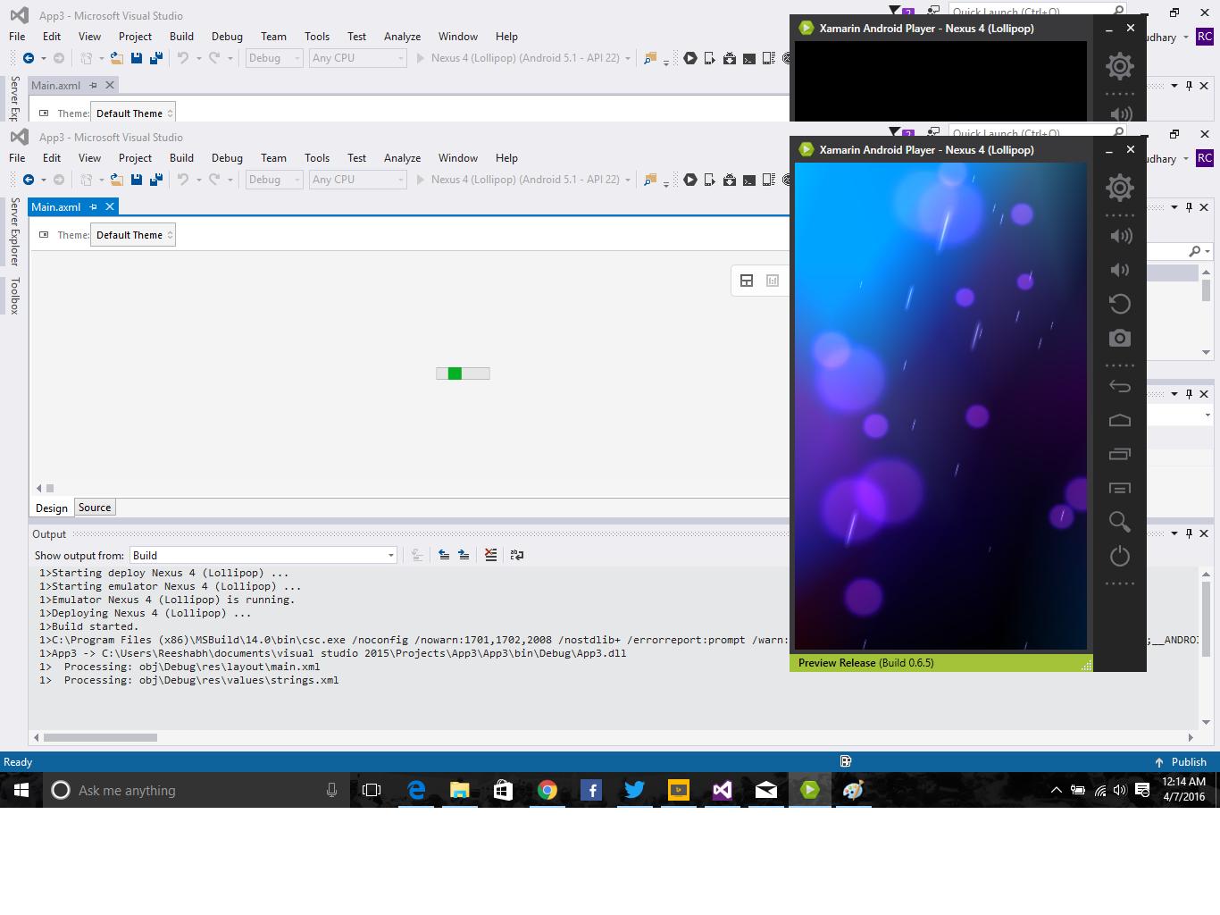 Developing App Xamarin