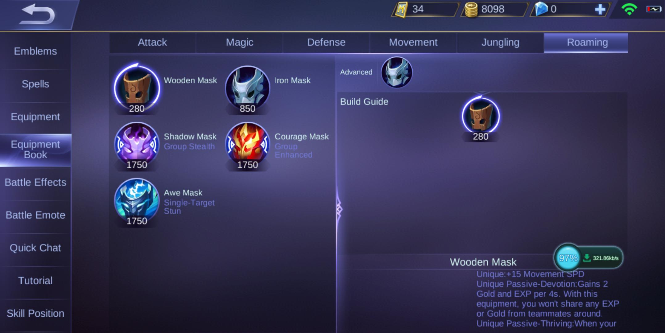 Hasil gambar item baru, yaitu Wooden mask, iron mask, shadow mask, courage mask dan awe mask.