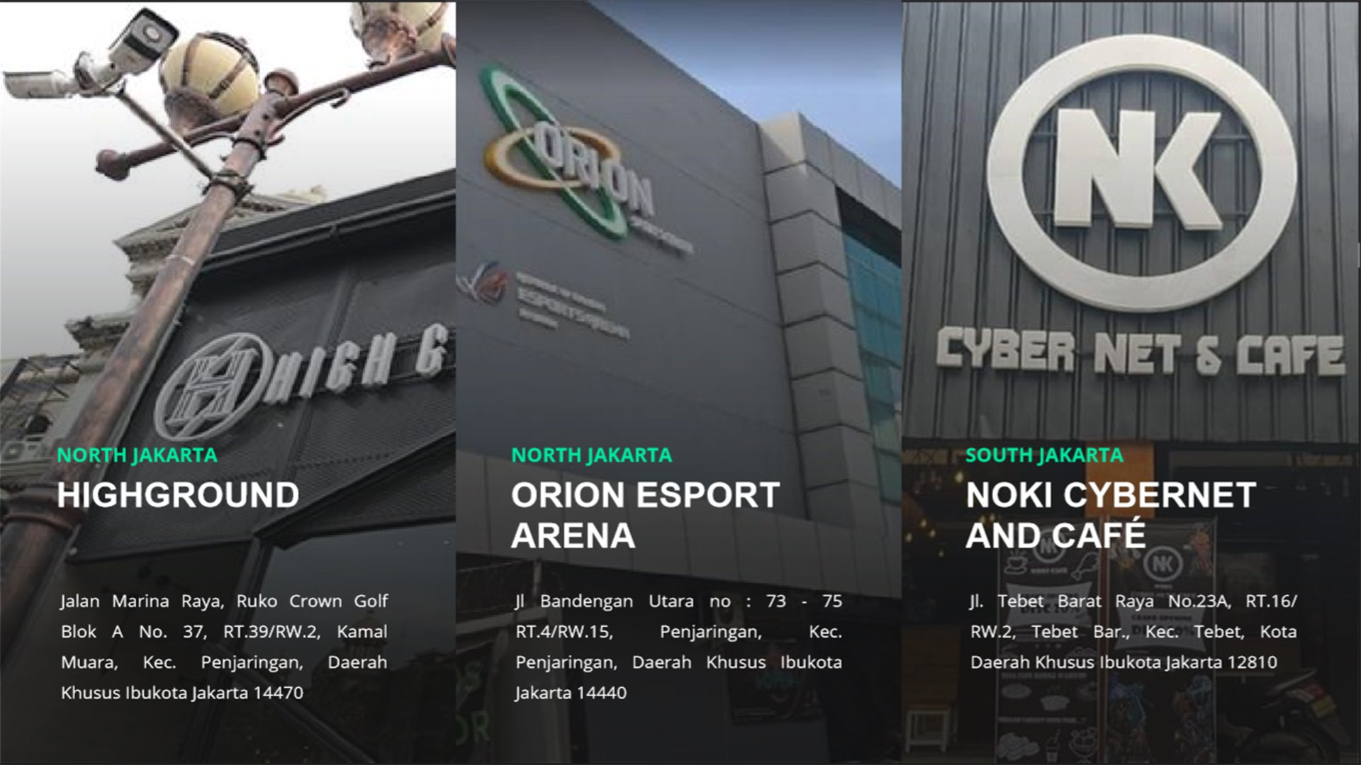 Highground, Orion Esports Arena, Noki Cybernet dan Cafe.
