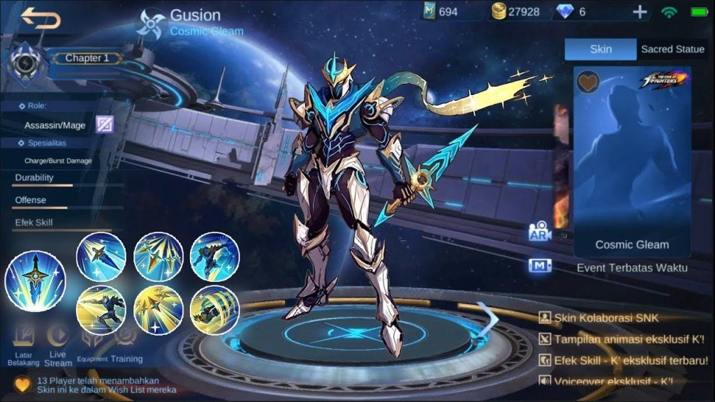 Inilah Bocoran Skill Dan Harga Skin Legends Gusion Cosmic Gleam Di Mobile Legends Gamebrott Com