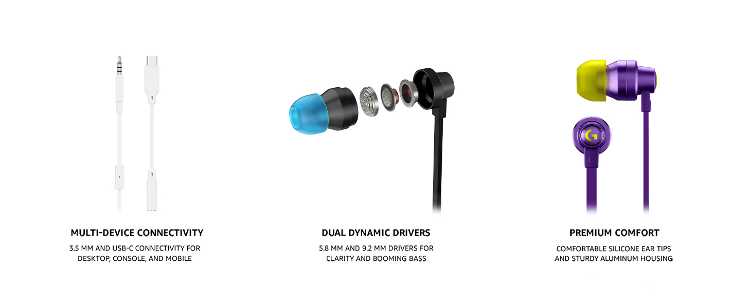 Logitech G333 Gaming Earphone Features