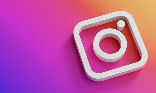 Instagram Logo Minimal Simple Design Template Copy Space 3d 1379 4887