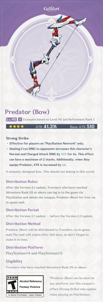 Genshin Impact Horizon Zero Dawn Predator Bow
