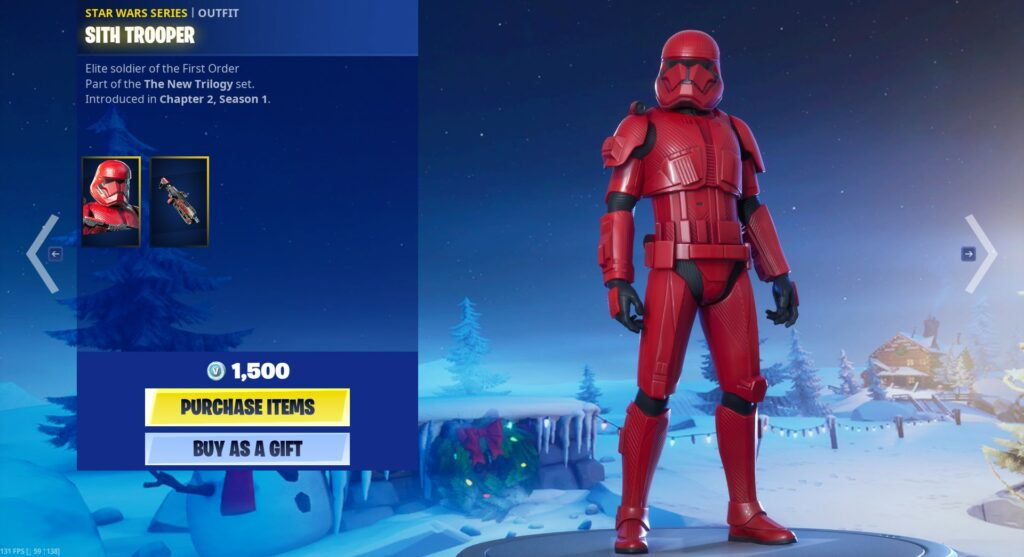 Sith Trooper Fortnite Star Wars Series Outfits